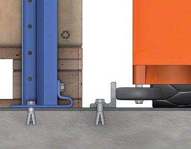 De pallets steunen rechtstreeks op de vloer. Een L-vormig profiel dat in de vloer verankerd is, fungeert als geleiding.