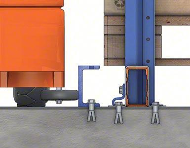 De pallets steunen op profielen die op de vloer of op liggers geplaatst worden. Een U-vormig profiel dat in de vloer verankerd is, fungeert als geleiding.