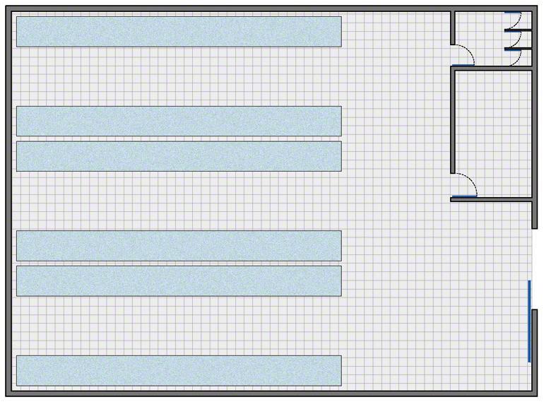 Magazijn met een zeer eenvoudige indeling: opslagzone, beheerzone en kleedruimtes met toiletten voor de magazijnmedewerkers