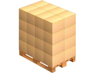 Pallet waarop de door de leverancier verzonden dozen worden geplaatst. Deze kan de goederen ook op een pallet aanleveren (gepalletiseerd).