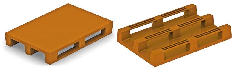 Deze kunststof pallets lijken op houten Europallets. Wanneer ze sterk genoeg zijn, geven ze geen problemen.