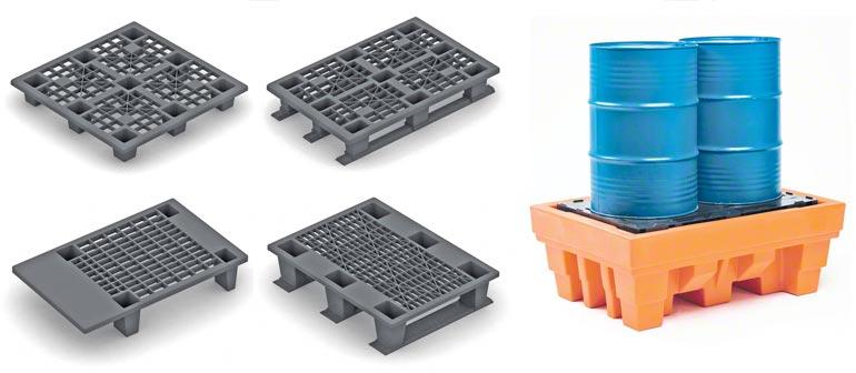 Verschillende modellen kunststof pallets