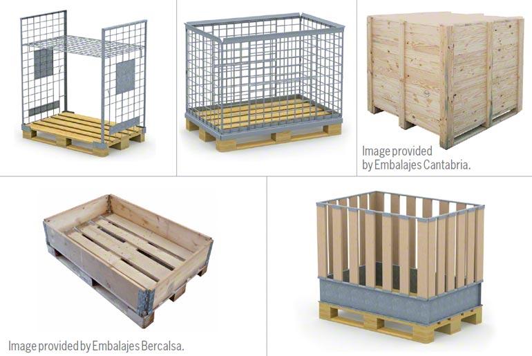 Verschillende soorten houten magazijnbakken