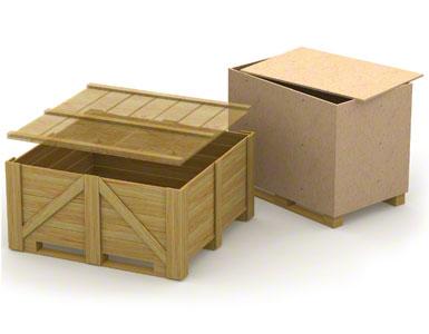 De onderplanken van houten magazijnbakken kunnen zwak en weinig resistent zijn omdat ze voor éénmalig gebruik zijn