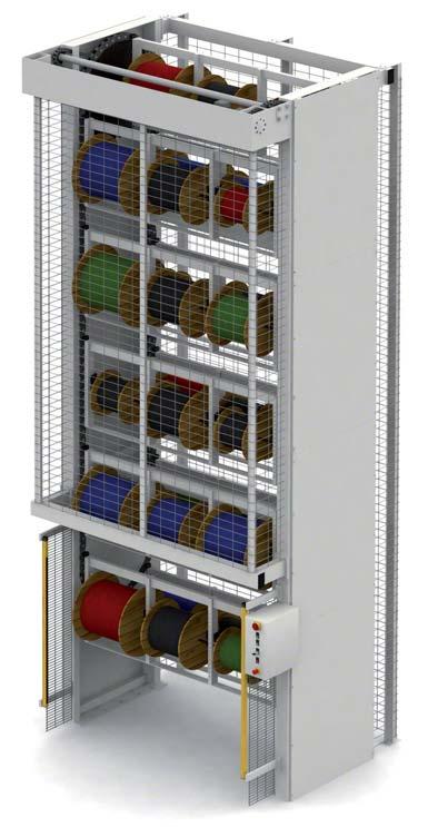 Automatisch verticaal magazijnsysteem voor bobijnen en haspels
