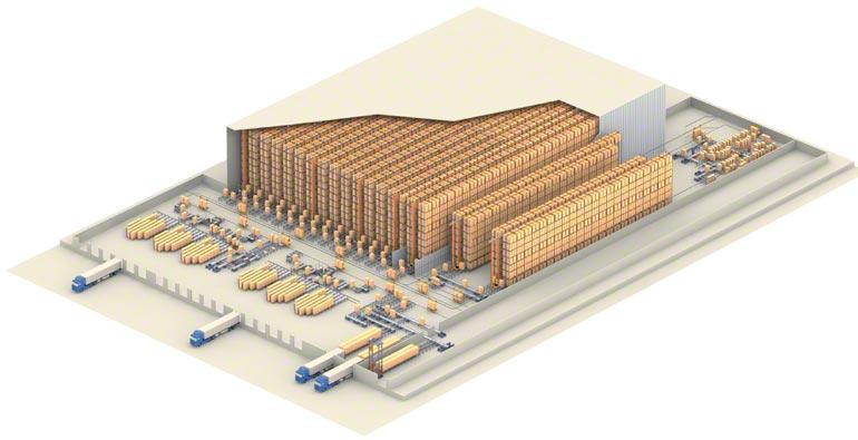 Voorbeeld van een centraal magazijn