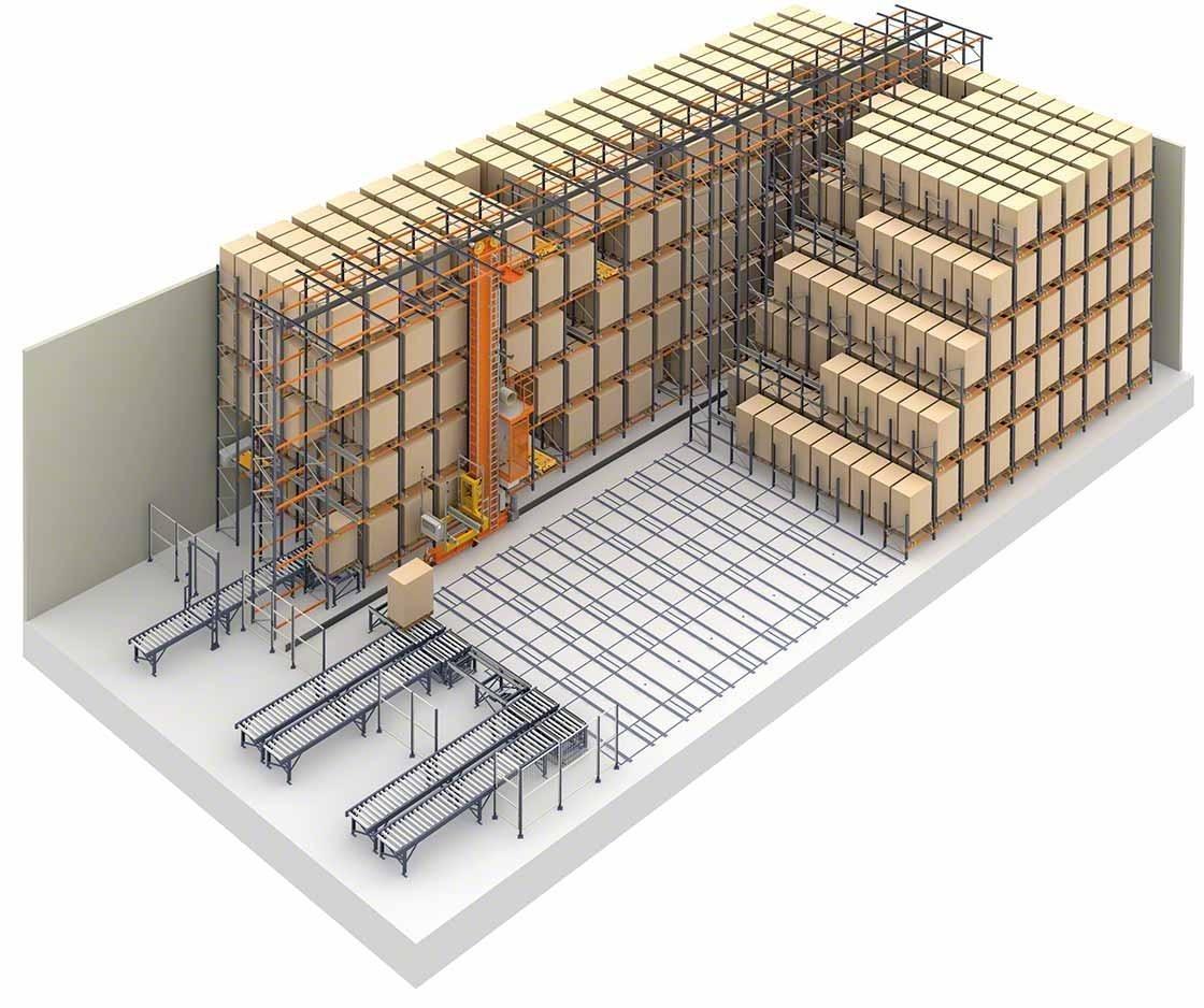 Représentation d'un entrepôt utilisant des solutions de stockage par accumulation et un Pallet Shuttle automatisé
