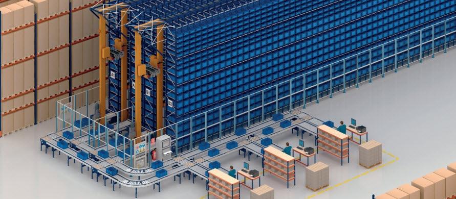 Magasin automatique pour caisses et rayonnages à palettes pour COVAP en France
